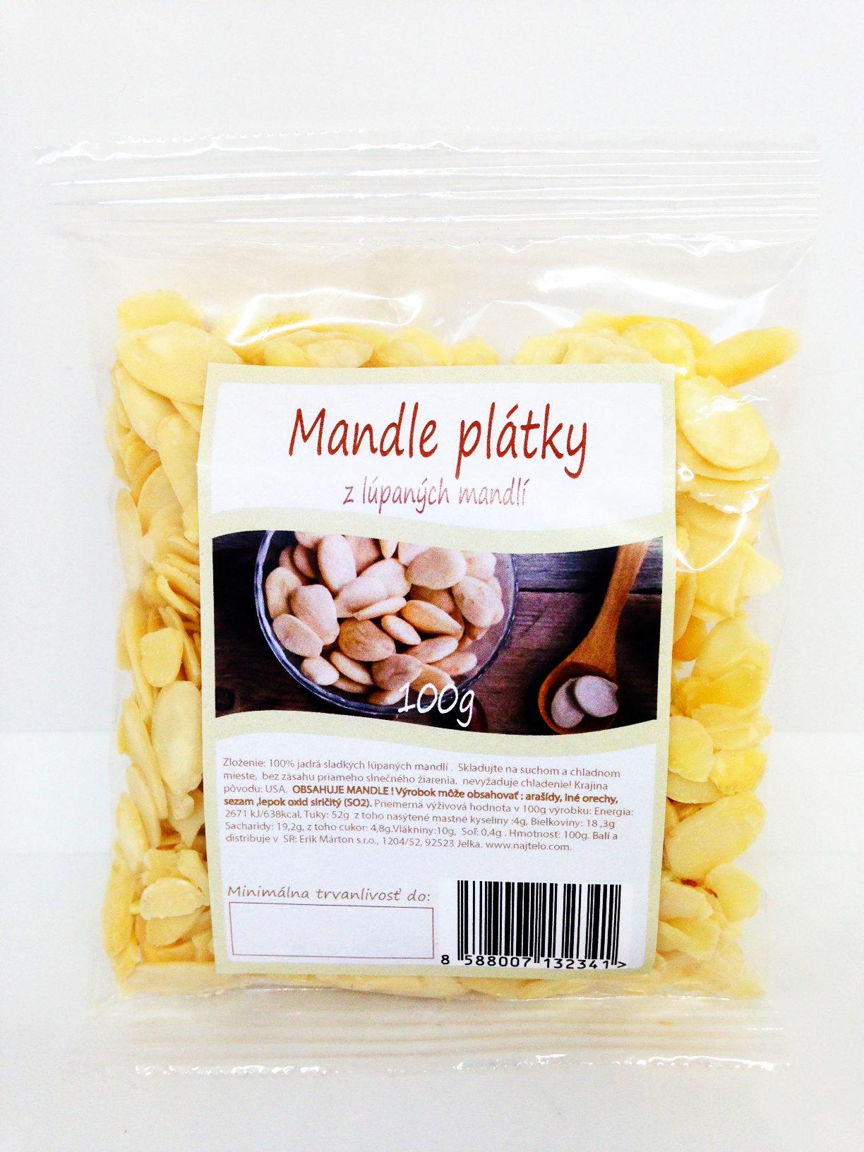 Mandle plátky lúpané biele natural 100g