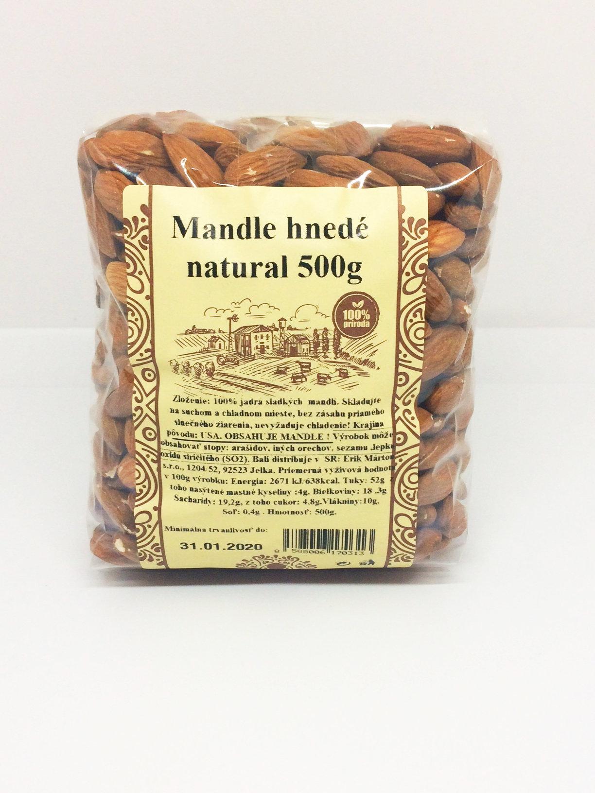 Mandle natural  hnedé nelúpané 500g